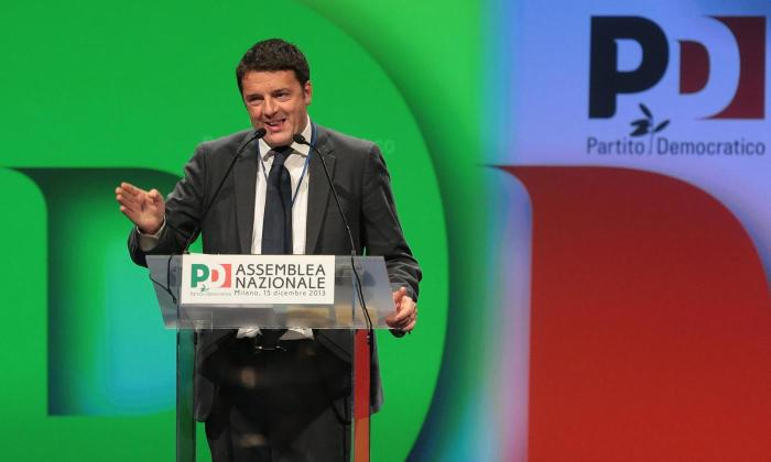 Foto Andreoli Emilio - LaPresse 15 12 2013 - Milano (Italia) Politica Assemblea Nazionale PD Partito Democratico presso MICO Milano Congressi Nella foto: Matteo Renzi