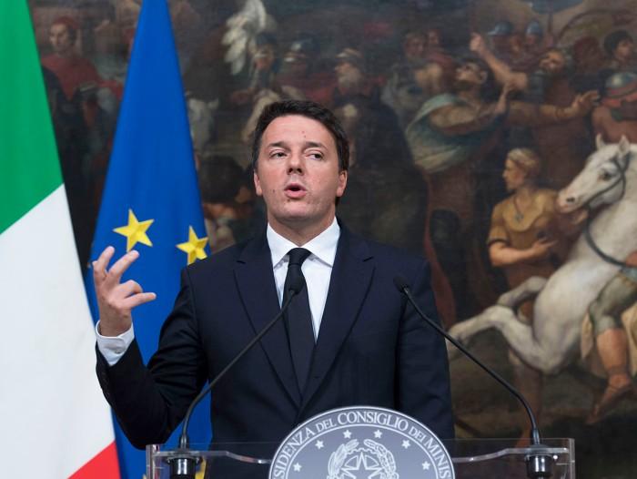 Matteo Renzi durante la conferenza stampa sui 1000 giorni del governo (foto di Tiberio Barchielli)